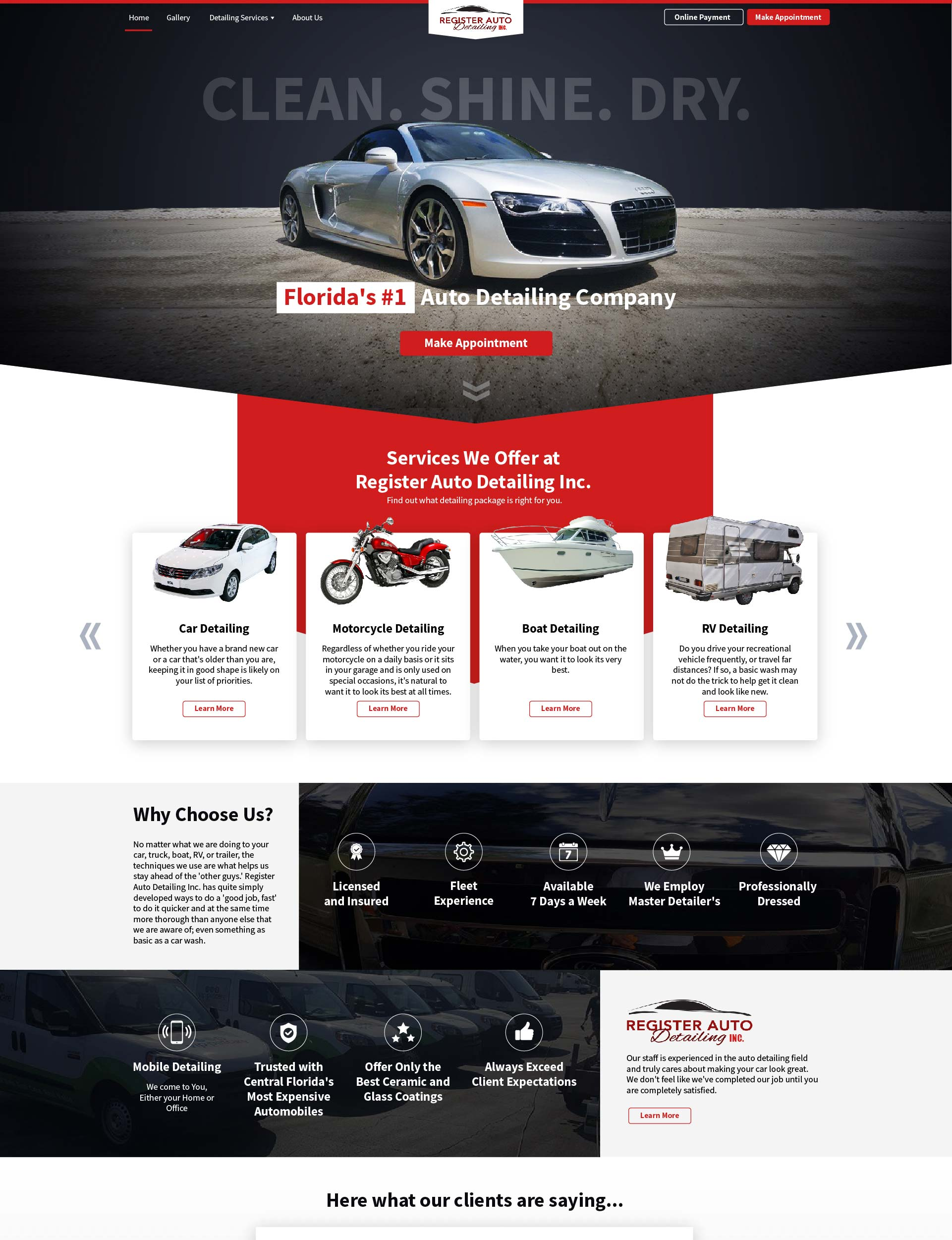 Register Auto Detailing Mockup Web Lakeland design