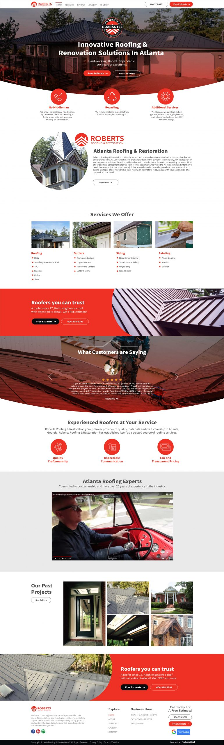Website for roofing & construction company