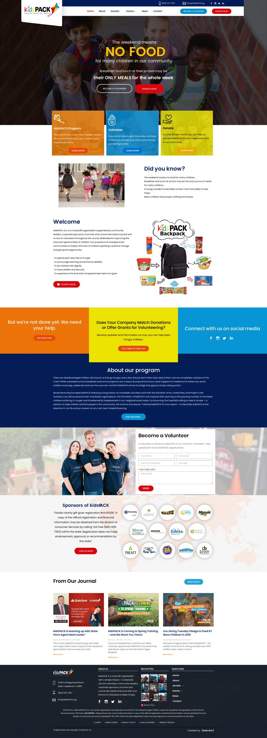 Web design for non-profit organisation