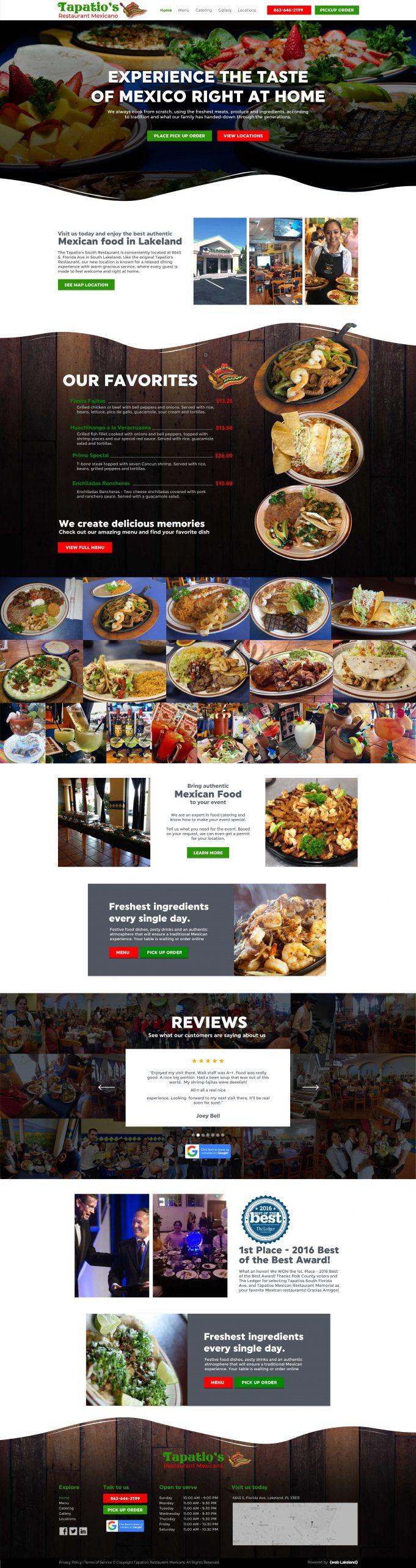 Website redesign for Restaurant