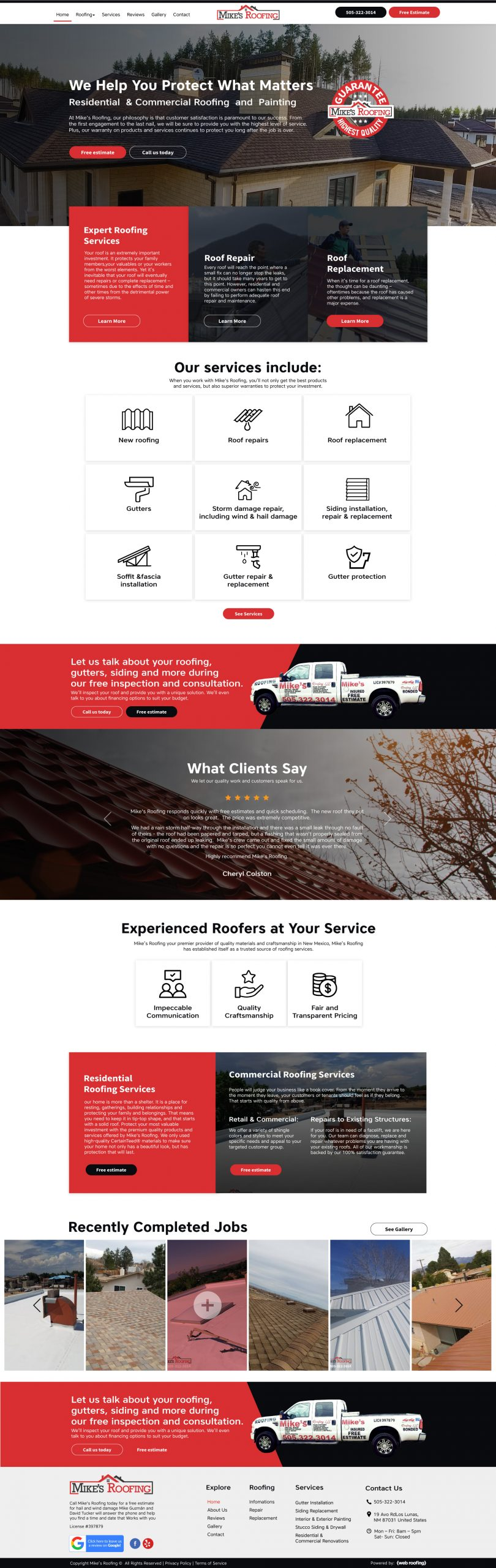 Website design for construction and roofing business