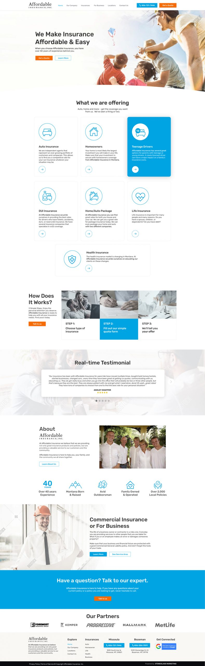 Website for Insurance company