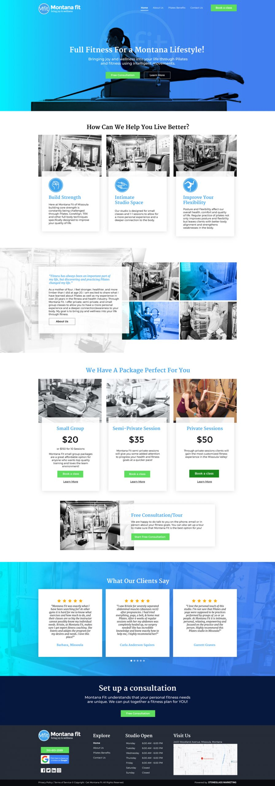 Website design for Fitness business