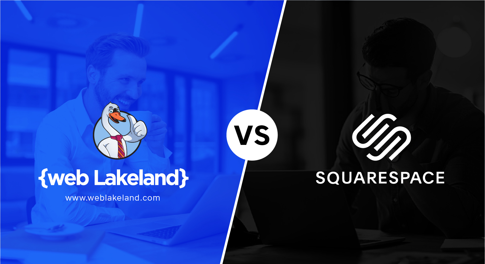 "Rectangle split diagonally down the middle. The left side is blue with the {web Lakeland} swan logo. ""vs"" is in the middle, black text in a white circle. The Squarspace logo is on the right side, white with a black background."
